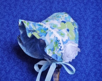 Infant Baby Bonnet Blue Reversible