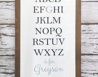 Personalized Alphabet Sign, Nursery, Baby Room, Baby Shower Gift