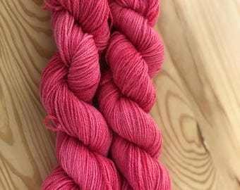 Hot Pink dyed-dyed hot pink-hand dyed yarn-Hot Pink Yarn- Fingering Weight yarn-Hand Dyed Sock-Sock Yarn Dyed-Hot Pink Sock-Variegated Yarn