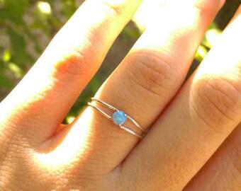 Silver blue opal ring, Blue opal ring, Tiny opal ring, opal ring, Silver stacking ring, silver opal ring, Blue opal, opal silver jewelry
