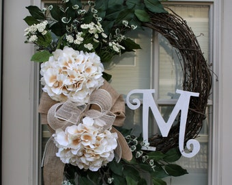 Hydrangea Wreath   Cream  Hydrangea Wreath Front Door Floral Wreath Summer Wreath All season Wreath