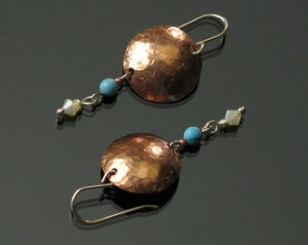 Hammered Copper Earrings, Unique Mixed Metal Earrings, Metal Jewelry, Modern Earrings, Unique Jewelry Gift for Women, Wife, Girlfriend Gift