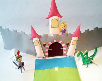 Castle soft toy, Fairytale castle toy, Pretend play toy, Educational toy, Knight castle play set, Unique gifts for kids, Personalized gift