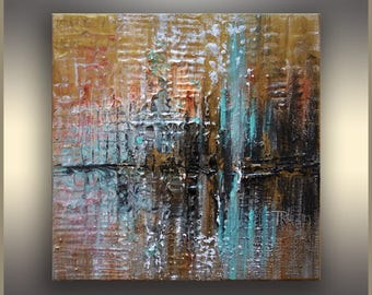 Teal Brown Acrylic Painting on Canvas, Small Original abstract painting, Abstract Art, Original Painting, Acrylic Abstract Art