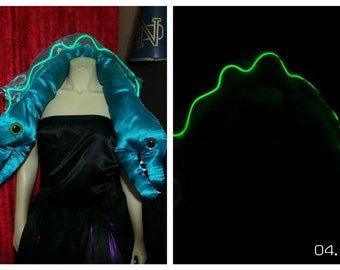 EEl with Lighted Spine - Ursula Electric EELs Flotsam & Jetsam inspired shawl  -  Made to Order