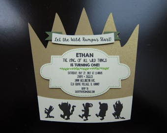 Where the Wild Things Are Crown Invitation Card