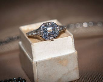 Edwardian Engagement Ring - Antique Reproduction Engagement Ring - Old Mine Cut Engagement Ring - Antique Engagement Ring