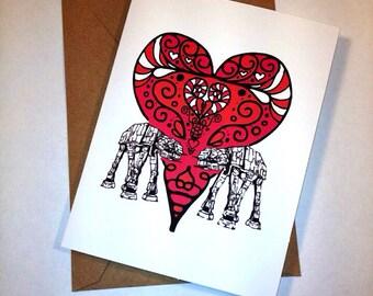 Star War AtAt Valentine's card,  geek valentine