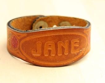 Leather Rose Name Bracelet - Jane
