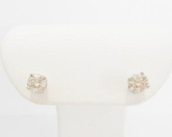 Diamond Studs, Diamond Earrings, Gold Diamond Studs, Diamond, Gold Earrings, 14k White Gold .75 Carat Round Diamond Stud Earrings #624
