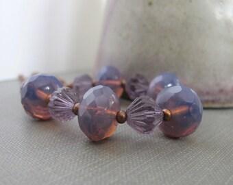 Glass Necklace, Copper Necklace, Purple Glass, Copper Chain, Czech Glass, Copper Jewelry,