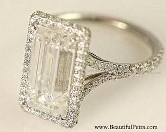 GIA Certified - Platinum - F/VVS2 - 1.75 carats total - Emerald Cut Diamond engagement ring - Bph027