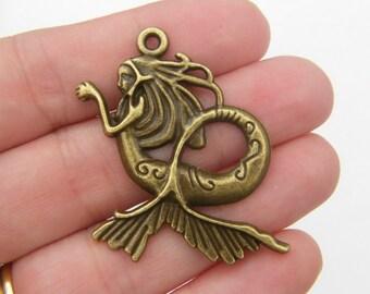 2 Mermaid pendants antique bronze tone BC32