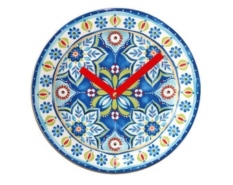 Plate Clock, Wall Decor,  Wall Clock,  Kitchen Clock, Mediterranean Home Decor - 1980