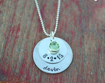 mom necklace-new mom necklace-custom name and date necklace-sterling silver personalized stamped