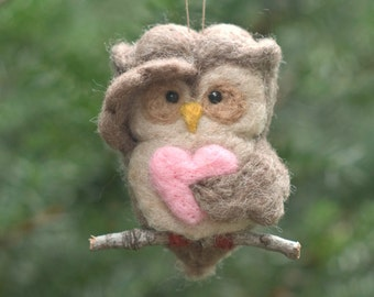 Needle Felted Owl Ornament - Searching with Heart