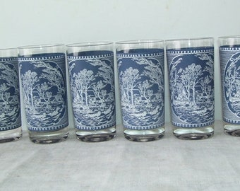 6 Currier and Ives Tumbler Glasses, Blue and White Drinking Glasses, Gristmill Pattern, Mid Century Glasses, Modern glasses