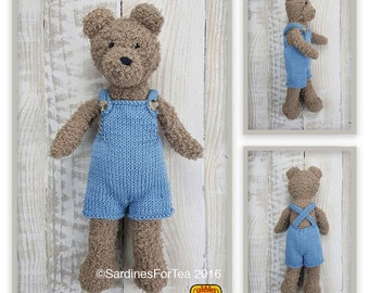 Knitted toy knitting pattern for Tom Bear teddy in dungarees, PDF download