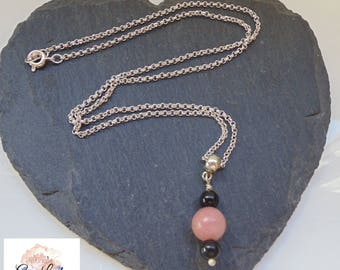 Lepidolite & Tourmaline Silver Plated Necklace ~ Gemstone Crystal Healing ~ Handmade Ooak