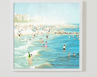 Square Beach Photography Art Print // Blue Aquamarine Wall Art // Square Format Beach Print // Ocean Photography Coney Island - Peeps Dips