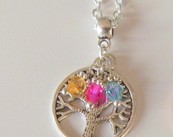 Custom Mother's Grandmother's  Small Tree of Life Pendant Necklace with Children's Birthstones