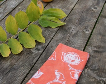 rust orange peony batik tea towel