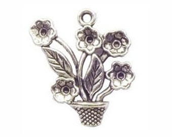 6 Silver Daisy Charm Flower Pendant 26x25mm by TIJC SP0364