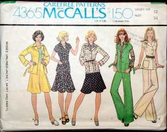 Retro Jacket, Skirt and Pants 1970s Vintage Sewing Pattern MCCALL'S 4365, size 12, UNCUT