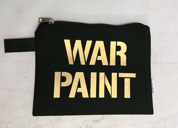 Canvas Makeup Bag WAR PAINT Black with Gold Metallic Print