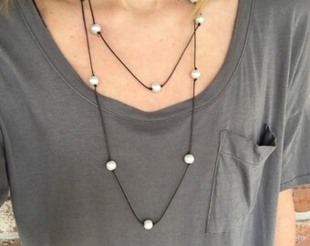 Wrap Around Long Pearl and Leather Necklace
