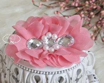 Nouveau : Règne Collection 2 pcs soie tissu fleurs avec strass - floral rose corail embellissements fleurs Bouquet de couches en tissu