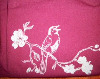 silk screen cotton purse (wind) with robin on dogwood branch, back side blooming branch