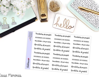 NEVERTHELESS SHE PERSISTED Paper Planner Stickers