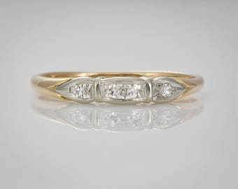 RESERVED FOR DINA! Traub Orange Blossom 1930s 14K Yellow Gold Wedding,  or Right Hand Band with 4 Single Cut Diamonds  Size 6.5 - 6.75 LV109