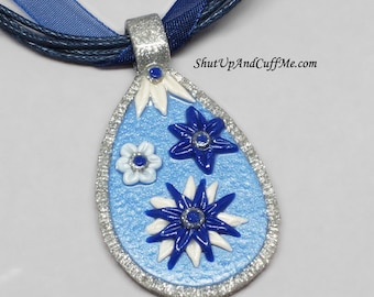 Blue Flower Necklace Pendant, Polymer Clay Necklace, White Flowers, Blue and White Flowers, Blue Necklace