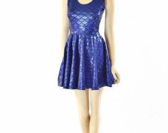 Royal Blue Mermaid Scale Holographic Fit and Flare Sleeveless Tank Skater Dress  152267