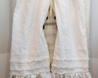 Women's Bloomers | White Linen Bloomers | Washed Linen Bloomers | Linen Pants | Linen Bloomers Ruffles and Lace | The Wild Raspberry
