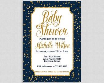 Navy and Gold Baby Shower Invitation, Gold Glitter Confetti Baby Shower Invite, Baby Boy, DIY PRINTABLE