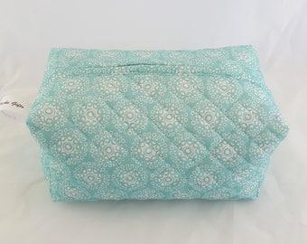 Toiletries Box Bag-Teal with White Medallion pattern