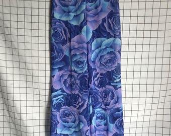 Vintage Floral Blue & Purple Sheer Chiffon/Mesh Flare Pants