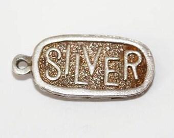 Vintage Silver Ingot Bar Sterling Silver Pendant Bracelet Charm 1/4 Ounce