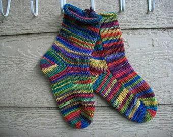 Hand Knit Socks in Rainbows and Jewels US size  7 to 9 adult unisex Fabulous Funky Footwear