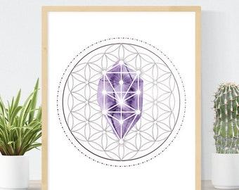 Amethyst Crystal Grid | Amethyst Crystal Print | Watercolor Amethyst | Watercolor Sacred Geometry | Tree of Life Art Print