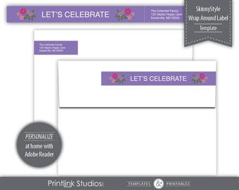 Banner Bouquet SkinnyStyle Wrap Around Label Template - Printable --- Purple --- SKU# H351-SL