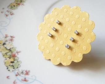 tiny stud earring set of 3, 1st 2nd 3rd ear piercing, 1.5mm 1.75mm 2mm clear white gems, sterling silver earrings