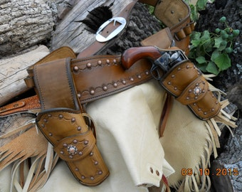 "Gun Leather - ""Lead Astray Sue"" - Ladies SASS Competition Gun Rig - Leather Gun Belt - Dual Holsters - Custom Gun Leather"
