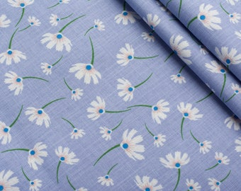Linen cotton fabric,floral on blue,fabric for dress, linen for clothes-0.5 meter