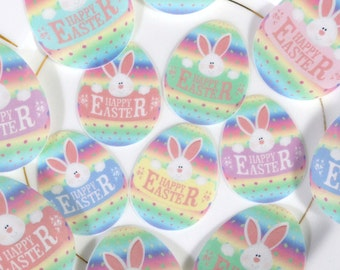 Edible Happy Easter Bunny Decorated Eggs Wafer Paper - Spring Cake Decorations White Rabbit Egg Cupcake Toppers Sherbet Rainbow Cookies RTD