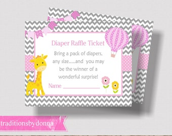 DIAPER RAFFLE TICKET Printable Pink and Gray Giraffe Baby Shower    Hot Air Balloon Baby Shower   Diaper Raffle for Girl   Pink Baby Shower