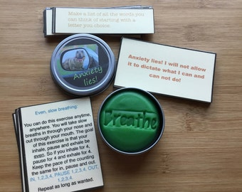 Anxiety relief kit, Calm down kit, Relaxing, calming, stress relief, affirmations, mental health, self care, stress ball aromatherapy dough
